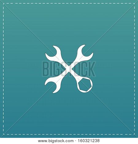 Settings Wrench. White flat icon with black stroke on blue background