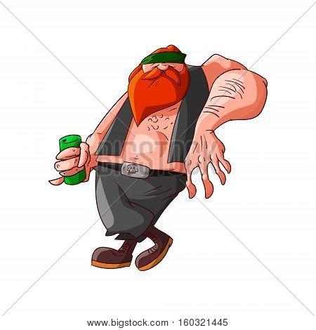 Colorufl vector illustration of a cartoon rocker biker or gang member