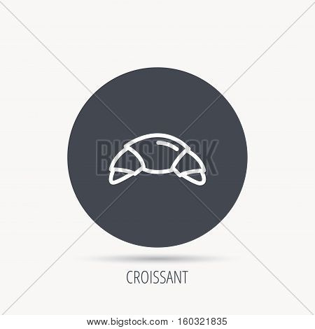 Croissant icon. Bread bun sign. Traditional french bakery symbol. Round web button with flat icon. Vector