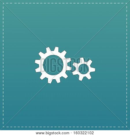 Two gears. White flat icon with black stroke on blue background