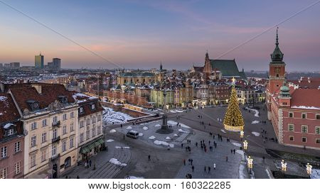 Old Town in Warsaw during Christmas time Poland