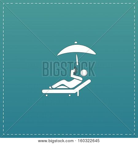 Relax under an umbrella on a lounger. White flat icon with black stroke on blue background