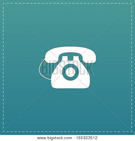 Office telephone. White flat icon with black stroke on blue background