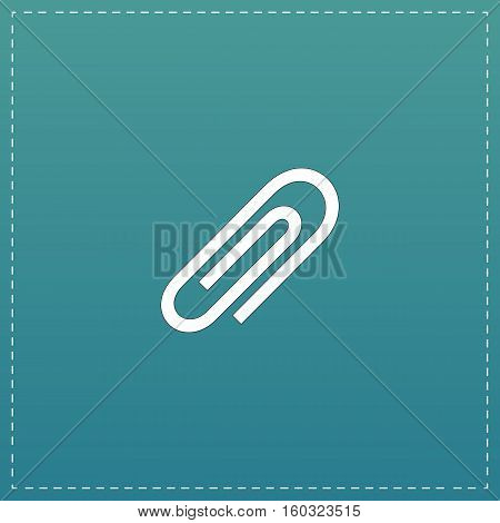 Paper clip. White flat icon with black stroke on blue background