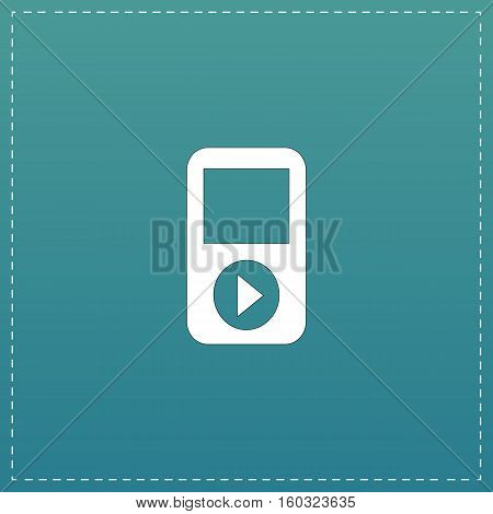 MP3 player. White flat icon with black stroke on blue background