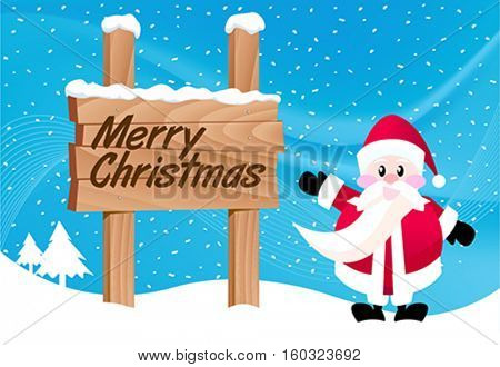 santa claus with wood sign christmas message