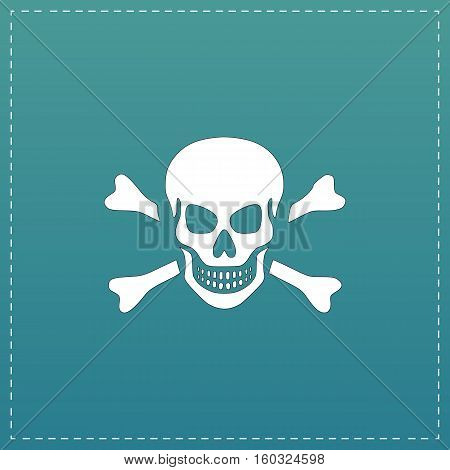 Skull and crossbones. White flat icon with black stroke on blue background