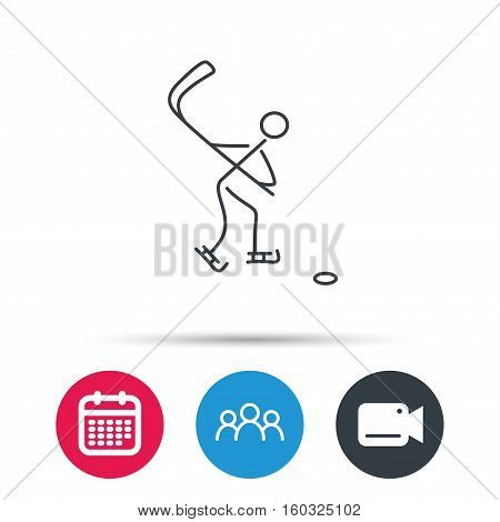 Ice hockey icon. Professional sport game sign. Group of people, video cam and calendar icons. Vector