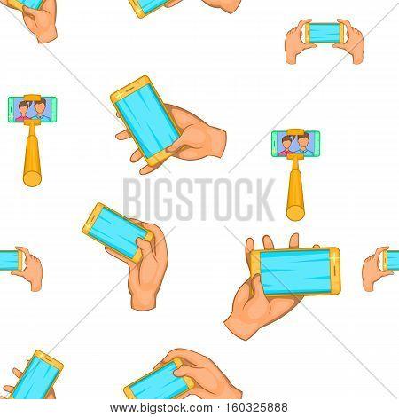 Photo on smartphone pattern. Cartoon illustration of photo on smartphone vector pattern for web