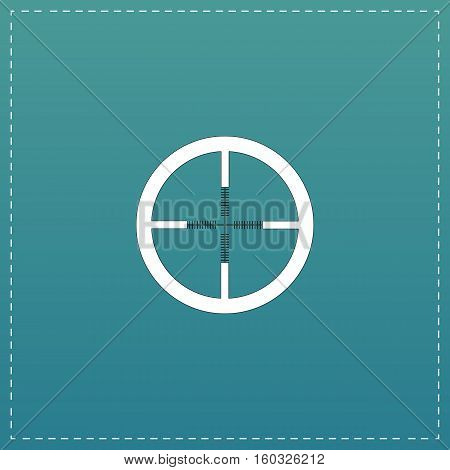 Crosshair. White flat icon with black stroke on blue background