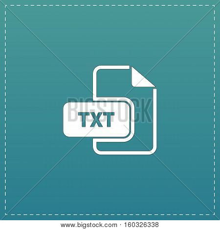 TXT text file extension. White flat icon with black stroke on blue background