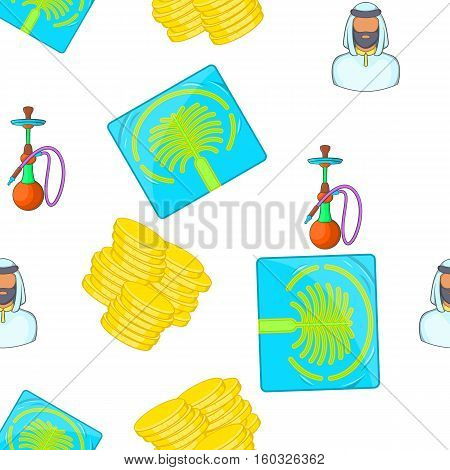 Tourism in UAE pattern. Cartoon illustration of tourism in UAE vector pattern for web