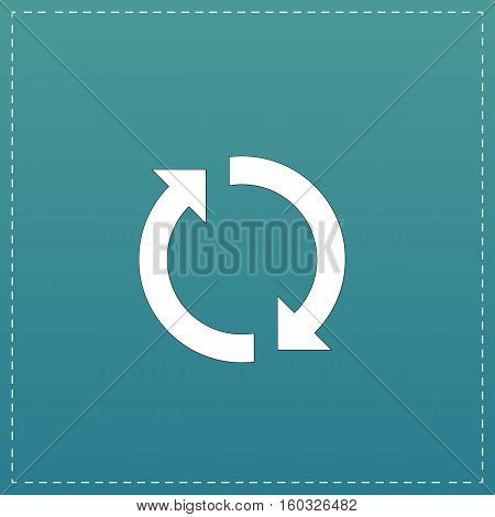 Refresh reload rotation loop sign. White flat icon with black stroke on blue background