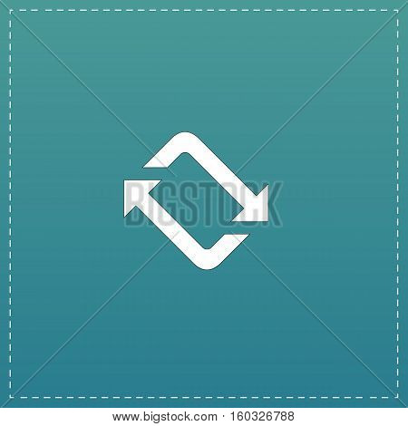 Spinning, rotating arrows. White flat icon with black stroke on blue background