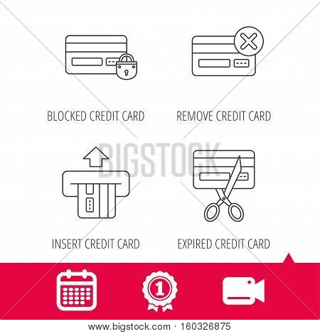 Achievement and video cam signs. Bank credit card icons. Banking, blocked and expired debit card linear signs. Calendar icon. Vector