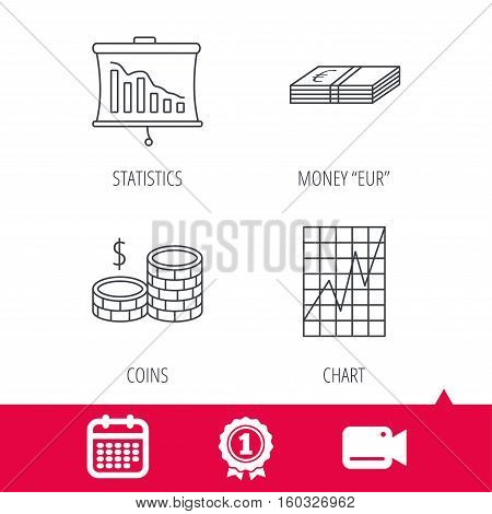 Achievement and video cam signs. Chart, cash money and statistics icons. Coins linear sign. Calendar icon. Vector