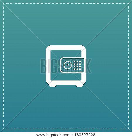 Safe money. White flat icon with black stroke on blue background