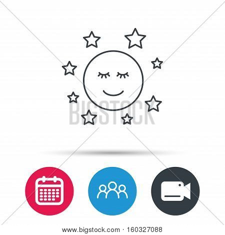 Moon and stars icon. Night or sleep sign. Astronomy symbol. Group of people, video cam and calendar icons. Vector