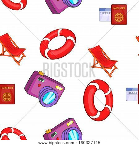 Trip to sea pattern. Cartoon illustration of trip to sea vector pattern for web