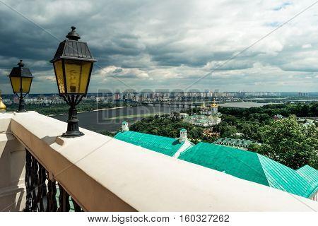 picturesque view of Kyiv from Kyiv Pechersk Lavra terrace, Kyiv, Ukraine