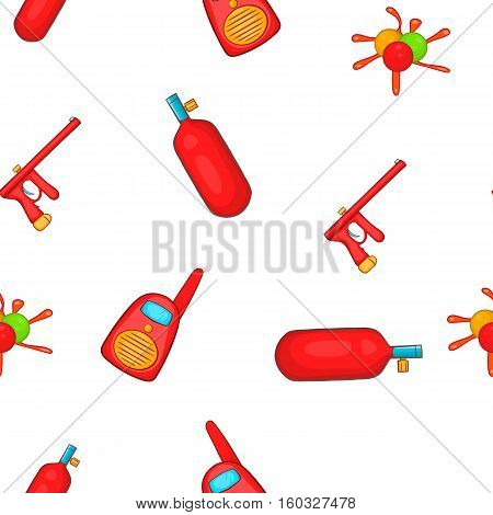 Paintball club pattern. Cartoon illustration of paintball club vector pattern for web