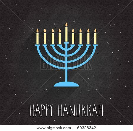 Hanukkah poster with menorah on black chalkboard. Vector illustration.