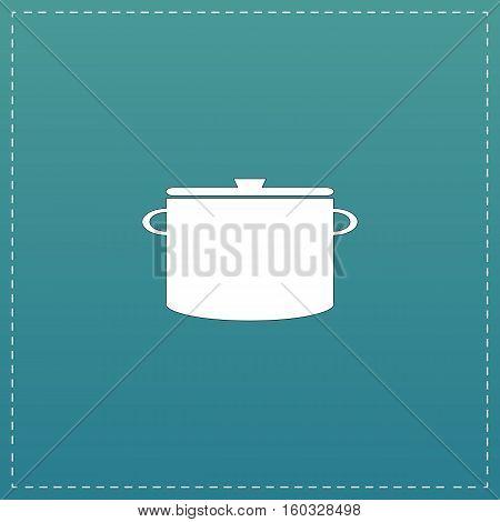 Kitchen pan. White flat icon with black stroke on blue background
