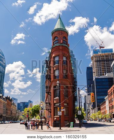 Toronto city, Ontario, Canada, down town, May 22, 2016, beautiful inviting Toronto city landscape view with old vintage classic buildings and people in background