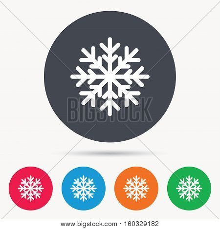 Snowflake icon. Air conditioning symbol. Colored circle buttons with flat web icon. Vector