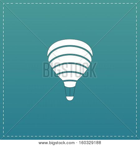 Sky balloon. White flat icon with black stroke on blue background