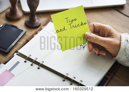 Tips and Tricks Hint Clue Instruction Advice Concept