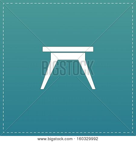 Small table. White flat icon with black stroke on blue background
