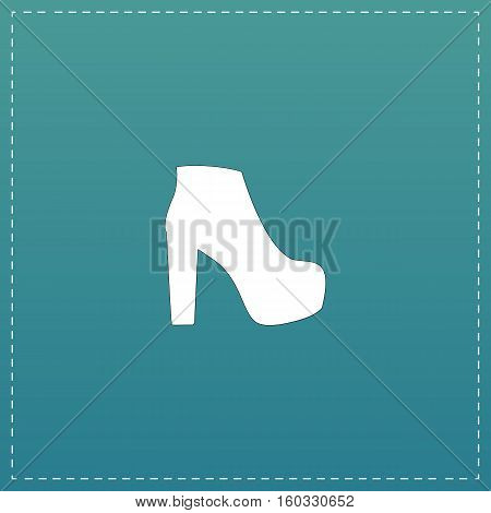 Womens shoes. White flat icon with black stroke on blue background