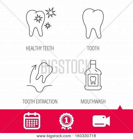 Achievement and video cam signs. Tooth, mouthwash and healthy teeth icons. Tooth extraction linear sign. Calendar icon. Vector