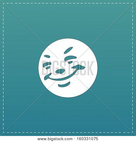 Smile. White flat icon with black stroke on blue background