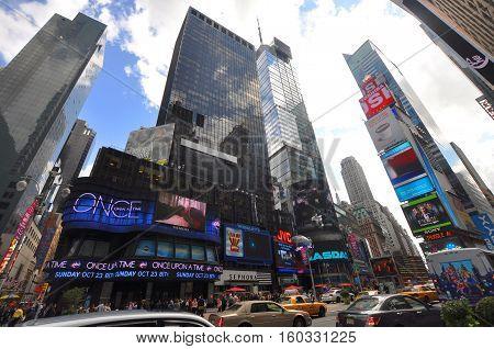 NEW YORK CITY - OCT 2, 2011: Times Square wide angle, Broadway, Manhattan, New York City, USA.
