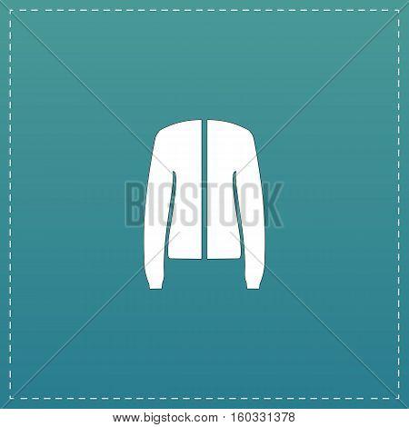 Jacket. White flat icon with black stroke on blue background