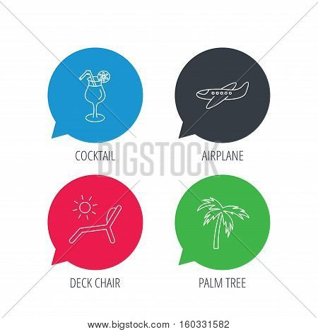 Colored speech bubbles. Airplane, deck chair and cocktail icons. Palm tree linear sign. Flat web buttons with linear icons. Vector