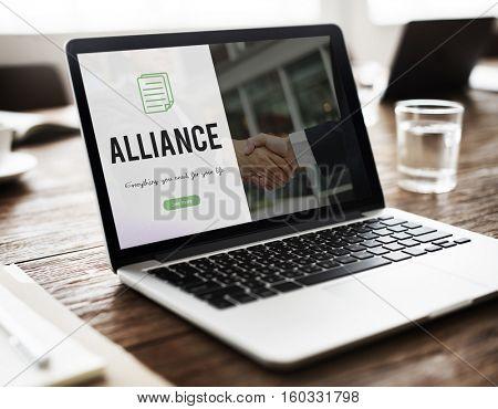 Alliance word on business handshake background