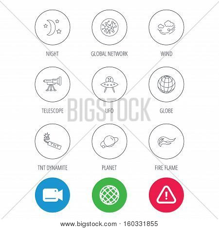 Ufo, planet and telescope icons. World, global network and night linear signs. TNT dynamite, fire flame and wind flat line icons. Video cam, hazard attention and internet globe icons. Vector