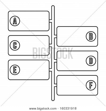 Infographic blocks on signpost icon. Outline illustration of infographic blocks vector icon for web design