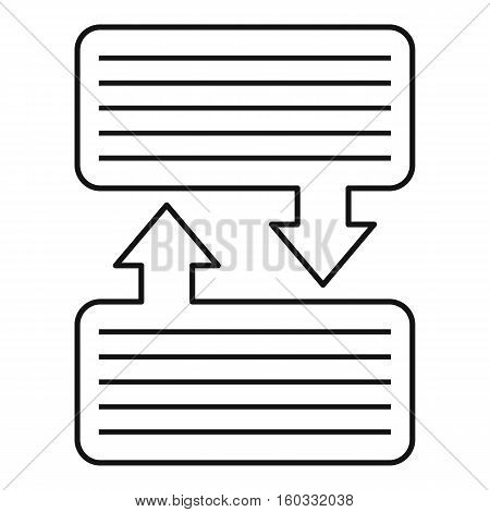 Infographic blocks with arrows icon. Outline illustration of blocks and arrowsvector icon for web design