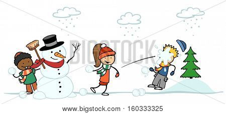Kids next to snowman making snowball fight in winter