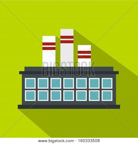 Refinery plant icon. Flat illustration of refinery plant vector icon for web isolated on lime background