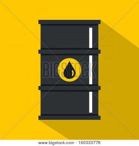 Black oil barrel icon. Flat illustration of black oil barrel vector icon for web isolated on yellow background