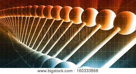Genetic Code Sequence of DNA Protein Art 3d Illustration Render