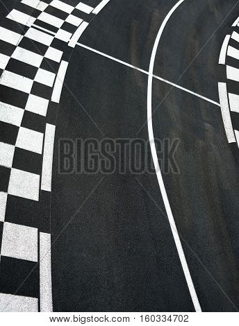 Car race asphalt and chess curb on Grand Prix street track