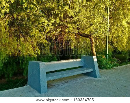 Bench built in concrete, to sit to rest, even to lie down, with trees and plants behind