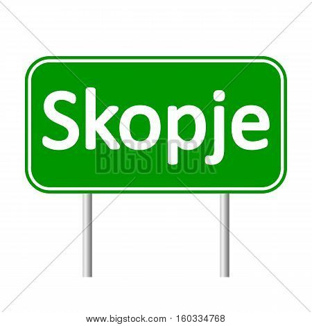 Skopje road sign isolated on white background.