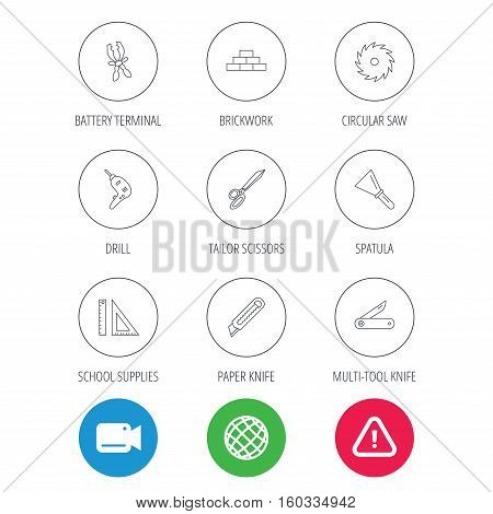 Paper knife, spatula and scissors icons. Circular saw, brickwork and drill tool linear signs. Multi-tool knife, rulers icons. Video cam, hazard attention and internet globe icons. Vector
